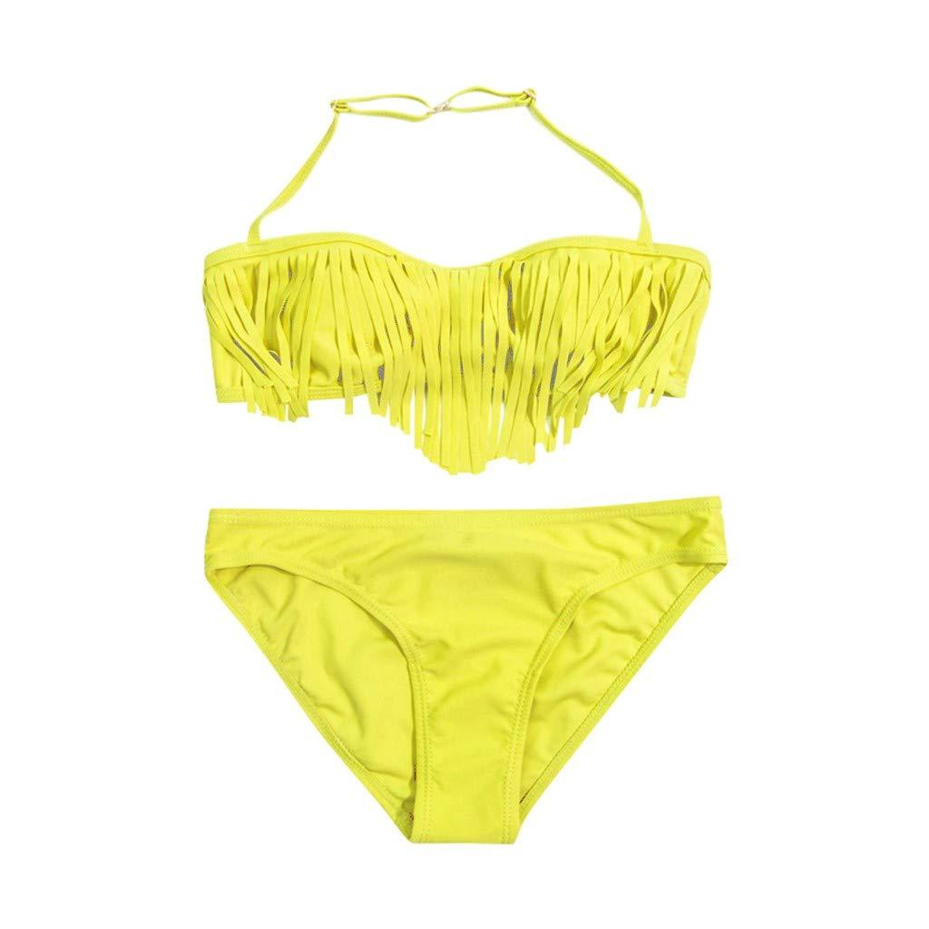 Nevera Little Girls Two Pieces Solid Swimsuit Bikini Set Tassel Swimwear Beach Bathing Suit Yellow