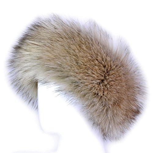 [Futrzane Faux Fur Headband For Women Winter Earwarmer Earmuff Hat Ski (Siberian Wolf)] (Wolf Head Hat)