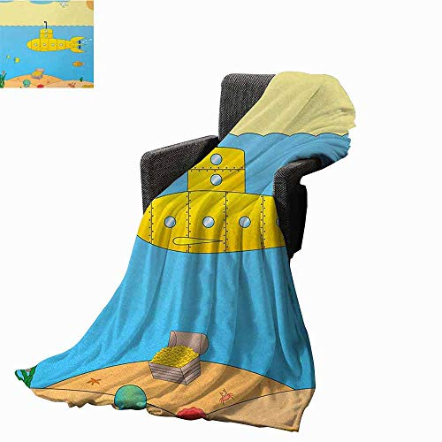 - Yellow Submarine Weighted blanket for kids,Cartoon Under Sea Adventure Jellyfish Treasure Chest Seagull Fish Weighted Blanket for Adults Kids Better Deeper Sleep (90