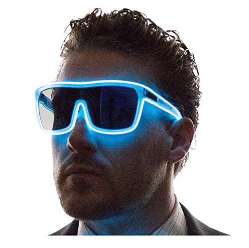 Neon Nightlife Blue Frame/Tinted Single Lens Tron Style Light Up Glasses - Frames Tinted Lenses