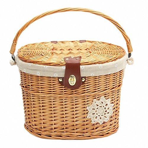 Wicker Willow Bicycle Front Basket Handcraft Washable Linen with Lid Waterproof Handle Linen Outdoor Picnic 13.7''x11''x9.4 ''