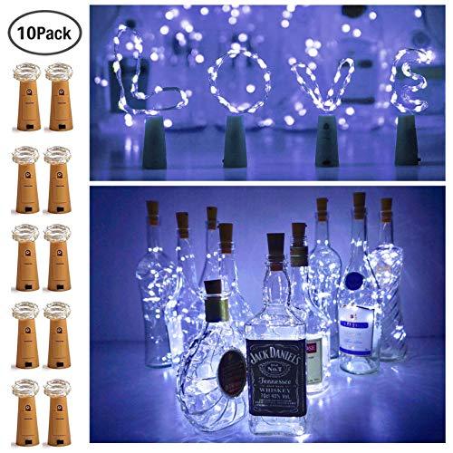 10 Pack 20 LED Wine Bottle Cork Lights Mini Fairy String Lights Copper Wire B...