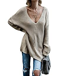 Womens Oversized Sweaters Fall Cashmere Knit Off The Shoulder Sexy V Neck Pullover