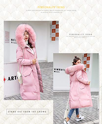 Pink Pelliccia Chic Donna Addensare Caldo Con Cappotti Casual Ragazza Invernali Di Cappotto Outerwear Giaccone Lunga Alta Cappuccio Sciolto Eleganti In Moda Piumini Outdoor Manica Vita Sn4qxPx0