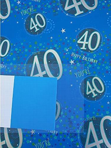 Papel de regalo de 40 cumpleaños para hombre. 5 hojas y 2 ...