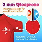 Lily&Jack Toddler & Baby Wetsuit for Boys and Girls 6 Mos. to 2 Yrs. – 2mm, UV Protection, Chlorine/Salt Resistant Neoprene Kids Wetsuit with Zipper for Warmth and Comfort, Red