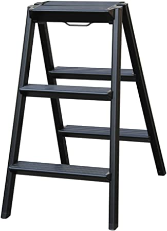 GLJJQMY Escalera Plegable de 3 peldaños Escalera multifunción portátil de Doble función de aleación de Aluminio Antideslizante Gruesa 3 Color Altura 70 cm (Color : Black): Amazon.es: Hogar