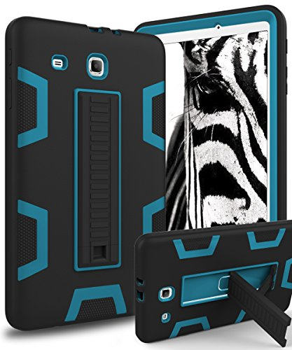 Samsung Galaxy Tab E 9.6 Case,XIQI Three Layer Hybrid Rugged Heavy Duty Shockproof Anti-Slip Case Full Body Protection Cover for Tab E Nook 9.6 inch(SM-T560),Black/Bule