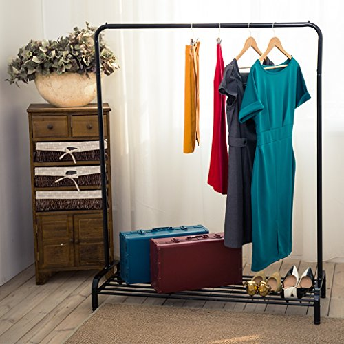 LANGRIA Heavy Duty Commercial Grade Clothing Garment Rack with Top Rod and Lower Storage Shelf for Boxes Shoes Boots 47.2 x 17.7 x 63 inches, Black (Rack Show Door)