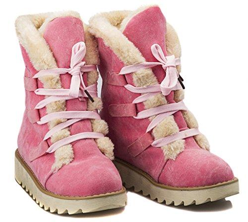 Minetom Damen Herbst Und Winter Mode Lace-up Schnee Schneestiefel Stiefeletten Rosa