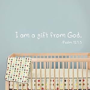 I Am A Gift From God - wall vinyl decal - nursery decal (dark brown, Medium)