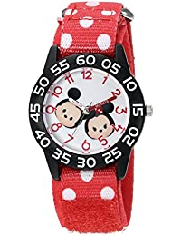 Boy's 'Mickey Mouse' Quartz Plastic and Nylon Watch, Color:Red (Model: W003003)