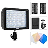 ESDDI 160 LED Camera Video Light Protable Photography Light with (2 Pcs) Rechargeable Batteries, Charger for Sony, Canon, Pentax, Panasonic, Olympus Digital SLR Cameras