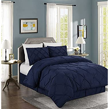 Chezmoi Collection Berlin 4-piece Pintuck Bedding Comforter Set (King, Navy)