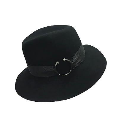 0a621e4c886a3 Limin Señoras Chicas Sombreros para Mujeres Clásico Sombrero Elegante de  Campana Sombrero de Fieltro Sombrero Ancho