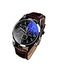 Efitty 2016 New Hot Sales Fashion Faux Leather Mens Blue Ray Glass Quartz Analog Watch Watches