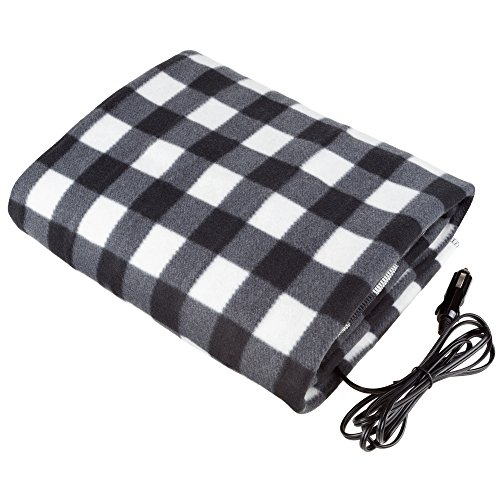 Electric Car Blanket- Heated 12 Volt Fleece Travel Throw for Car and RV-Great for Cold Weather, Tailgating, and Emergency Kits by Stalwart-BLACK/WHITE