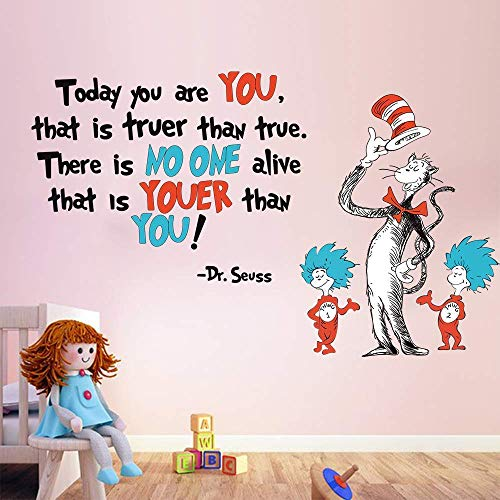 Runtoo Dr Seuss Wall Decals Inspirational Quotes Today You are You Kids Wall Stickers Baby Nursery Bedroom Classroom Wall Décor