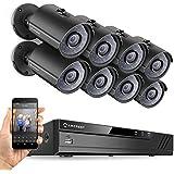 Amcrest 8CH Plug & Play H.265 6MP NVR 3MP 1536P Security Camera System, (8) x 3-Megapixel 2.8mm Wide Angle Lens Weatherproof Metal Bullet PoE IP Cameras, 98 Feet Night Vision (Black)