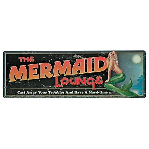 (Design Toscano Mermaid Lounge Antique Look Tintype Sign, Full Color)