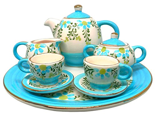 BDJ Hand Painted Ceramic Miniature Tea Party Set for Two - 10 Pieces (Size M) (Style C)