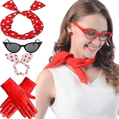 50's Costume Accessories Set Chiffon Scarf Cat Eye Glasses Bandana Tie Headband ()