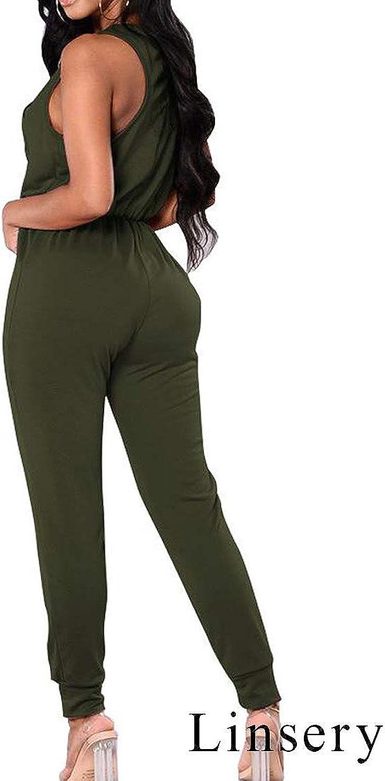 Linsery Women Sleeveless Crisscross V Neck Drawstring Pleated Jumpsuit Green XL