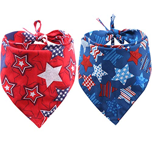 KZHAREEN 2 Pack American Flag Dog Bandana USA Triangle Bibs Scarf Reversible Accessories for Dogs Pets Cat