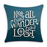 """Kithomer Not All Who Wander Are Lost Travel Quotes Throw Pillow Covers Cotton Linen Home Decor Pillow Case Cushion Cover for Sofa Couch 18"""" x 18"""""""
