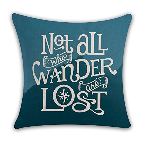 Kithomer Not All Who Wander Are Lost Travel Quotes Throw Pillow Covers Cotton Linen Home Decor Pillow Case Cushion Cover for Sofa Couch 18 x 18