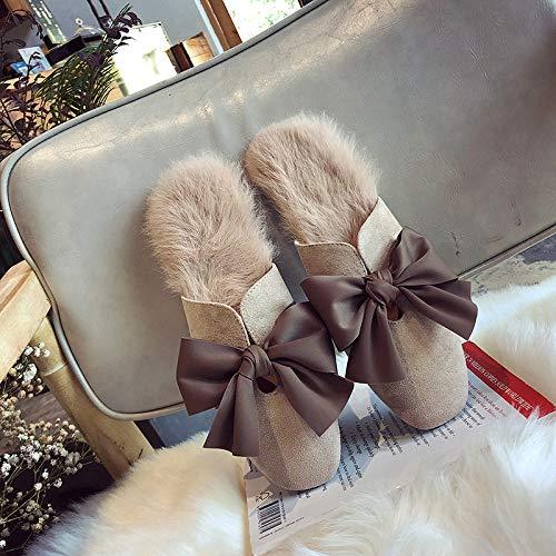 Scarpe Casa Donna Morbide Inverno Bowknot Lady Beige Con Lana Comode Suadeex Pantofole Pelliccia Da Fiocco In 0BwxST