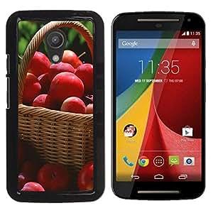 TopCaseStore / la caja del caucho duro de la cubierta de protección de la piel - Fruit Macro Red Apples - Motorola MOTO G 2ND GEN II