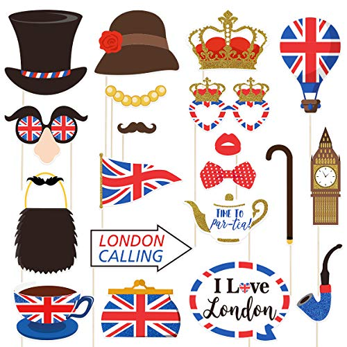 Amosfun British Photo Booth Props Funny British Party Props UK England Selfie Props for British London National Day Party Decorations,Pack of 20 -