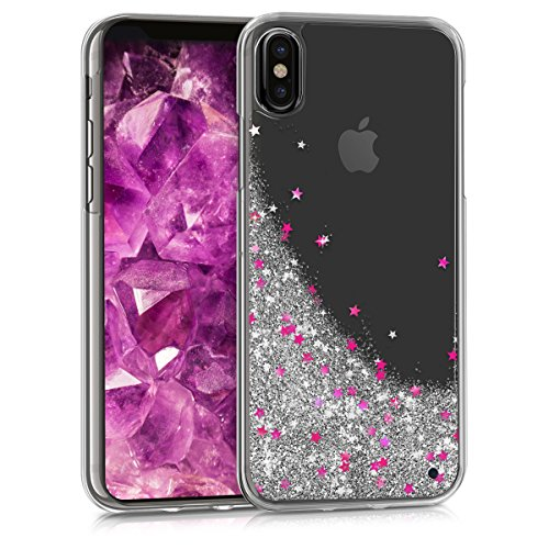 kwmobile hardcase cover for Apple iPhone X with liquid - hardcase backcover protective case water with Design Stars snow globe in silver dark pink transparent (Case Design Silver Stars)