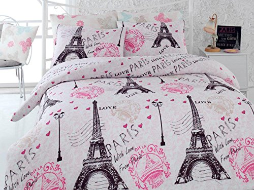 LaModaHome Eiffel Tower Duvet Cover Set, 65% Cotton 35% Polyester - with Love from Paris, Letter, Pink - Set of 4 - Duvet Cover, Flat Sheet and Two Pillowcases for Queen Bed