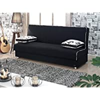 BEYAN Kentucky Collection Modern Armless Convertible Sofa Sleeper Bed with Storage Space and Includes 2 Pillows, Black