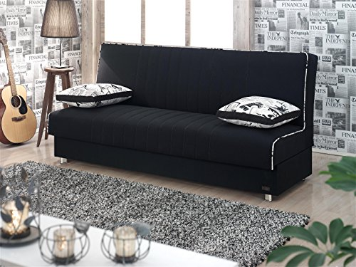 BEYAN Kentucky Collection Modern Armless Convertible Sofa Sleeper Bed with Storage Space and Includes 2 Pillows, Black (Sleeper Armless)