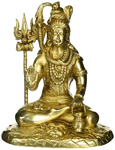 Señor Shiva sentado en la montaña de Kailash–estatua de latón