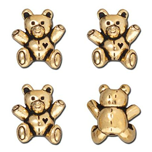 Gold Plated Teddy Bear - TierraCast Teddy Bear Bead, 13.75mm, Antiqued 22K Gold Plated Pewter, 3-Pack