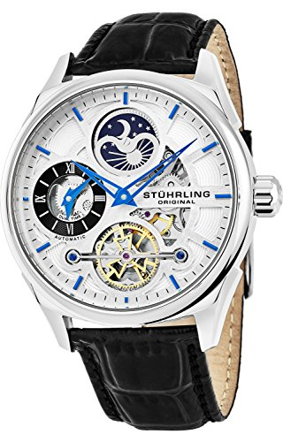 keleton Dress Analog Watch for Men, Dual Time Automatic Wristwatch, Stainless Steel, Calfskin Leather Strap, White Dial with Blue Accents ()
