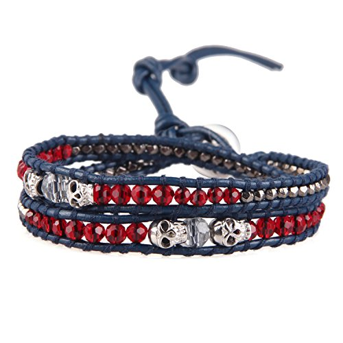KELITCH Skull Bead Multi Rows Cuff Bracelets Hand Braided Crystal 2 Wrap Bracelets Leather Hand Chain (Red)