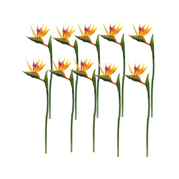 """Calcifer 32"""" Real Touch Bird of Paradise Artificial Flowers Bouquet for Home Garden Decoration/Wedding Party Decor Orange (Package Quantity: 10 Stems)"""