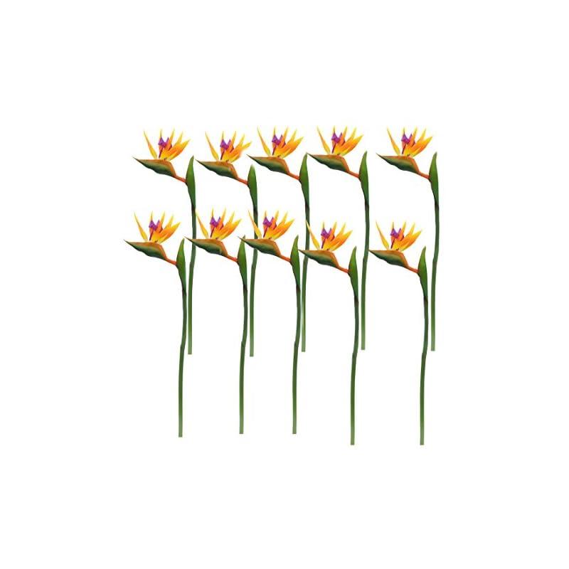 silk flower arrangements calcifer 32'' real touch bird of paradise artificial flowers bouquet for home garden decoration/wedding party decor orange (package quantity: 10 stems)