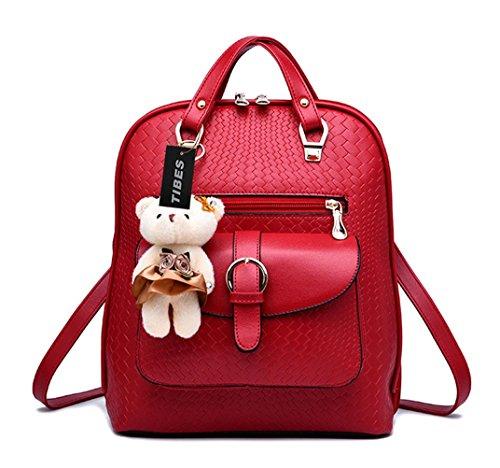 Tibes Bolsa Mujer Mini mochila impermeable Mochila de cuero Mochila de estudiante Vino rojo