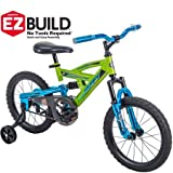 Incredibly Cool,Fun,Brilliant and Eye-Catching Huffy 16inches DS 1600 Boys EZ Build Metaloid Bike,Lime Green with Metallic Liquid Blue,Great Gift Idea For Kids