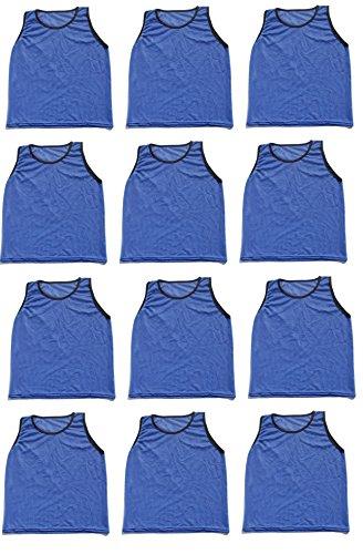 12 Pack Adult BLUE Scrimmage Vests by World Sport