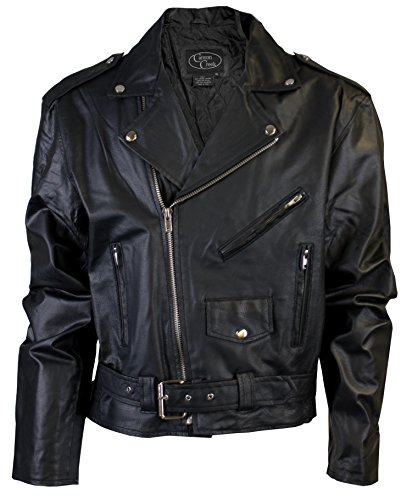 Canyon Creek Classic Men's Black Motorcycle Biker Jacket With Pockets (Large)