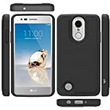LG Aristo Case, LG Phoenix 3 Case, LG K8 2017 Case, LG Fortune Case, LG Risio 2 Case, LG Rebel 2 LTE Case, LK [Shock Absorption] Drop Protection Hybrid Armor Defender Protective Case Cover (Black)