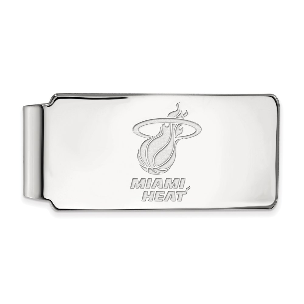 NBA Miami Heat Money Clip in Rhodium Plated Sterling Silver by LogoArt