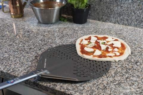 Dimension DE LA T/ÊTE 45 cm POIGN/ÉE 60 cm Gimetal Evolution de la Pelle /à Pizza Ronde perfor/ée en Aluminium S.H.A